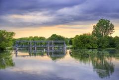 Gow's Bridge View (Joe Lösch) Tags: guelph ontario canada gow bridge sunset sky cloudy mood color aurora hdr fujifilm xt3 35mm f2 fujinon fujicron summer water reflections mirror