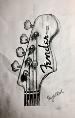 IMG_3671 (aryankaul2003) Tags: fender sketch guitar pencil drawing electric bass detailed precise artwork black white contrast headstock neck wood metal original