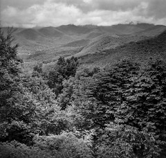 long range vista, Blue Ridge Mountains, Black Mountain, North Carolina, Bencini Koroll, Ilford FP4+, HC-110 developer, 6.10.19 (steve aimone) Tags: vista longrangevista blueridgemountains appalachian mountains lakeygapheights blackmountain northcarolina bencinikoroll bencini ilfordfp4 hc110developer 120 120film film 6x6 mediumformat monochrome monochromatic blackandwhite landscape