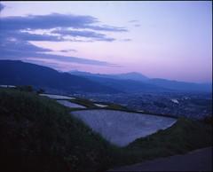 (✞bens▲n) Tags: mamiya 7ii velvia 50 80mm f4 film analogue landscape fields obasute nagano japan ricefields mountains evening sky