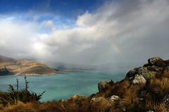 Rainbows over Lyttelton Harbour (Maureen Pierre) Tags: rainbow lytteltonharbour bankspeninsula godleyhead landscape colour rain shower xt2 fujifilm cloudsstormssunsetssunrises