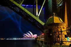 From under the bridge (Jared Beaney) Tags: canon canon6d australia australian travel photography photographer sydney newsouthwales night vividsydney 2019 sydneyoperahouse harbour operahouse sydneyharbourbridge frame framed