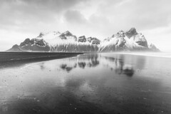 Vestrahorn Reflections 1 (lycheng99) Tags: vestrahorn reflections snow snowmountain mountains waves ocean clouds blackandwhite bnw monochrome landscape nature explore travel iceland winter cold