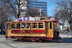 Trams Christchurch. NZ (Bernard Spragg) Tags: rail tram transport christchurch city red travel compactcamera lumix panasonic boxcar11