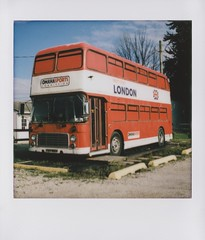 Red Bus (James Barkman) Tags: lomo lomoinstantsquare lomoinstant lomography instax instaxsquare instantfilm instant instantcamera analogphotography redbus vintagebus