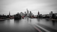 Frankfurt Skyline (Christoph Wenzel) Tags: frankfurt architektur colourkey sigma16mmf14dcdn sonyalpha6000 wasser deutschland stadt hessen panorama skyline wolkenkratzer rot frankfurtammain