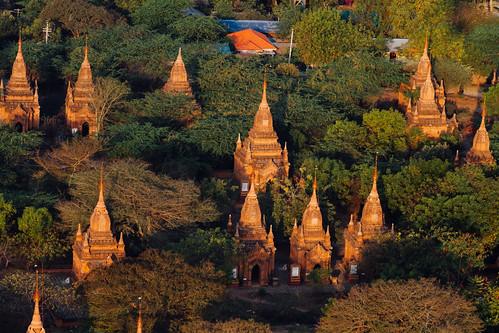 Small Bagan Temples at Sunrise, Myanmar