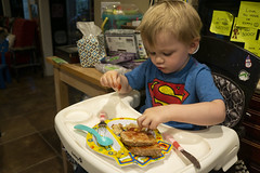 Ash Day 912 (evaxebra) Tags: ash eating breakfast messy pbj jelly peanut butter superman highchair kitchen