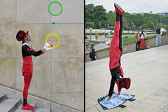 Juggler at work without shadows (pivapao's citylife flavors) Tags: paris france streetartist trocadero
