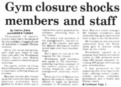 Gym Closure Shocks Members and Staff (RS 1990) Tags: theadvertiser newspaper microfilm scan adelaide australia australian southaustralian may 1994 1990s gym closure news article