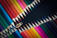 Pencil Zipper (mrmartinduffy) Tags: red abstract macro stilllife colouring colouringpencils pencils colour zip zipper diagonal diagonals diagonallines ykk