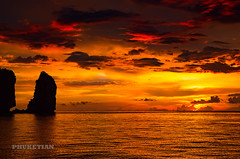 Dramatic sunset from our yacht near Phi Phi islands, Southern Thailand            XOKA8745bs (Phuketian.S) Tags: dramatic sea wave nature evening night ocean water sky cloud rock island phiphi phuket thailand закат небо облака остров пхипхи пипи море океан волны яхта скала пхукет таиланд phuketian outdoor landscape red yellow gold dark sunset yacht sunrise