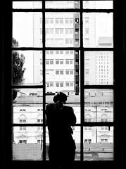 city window (radek_k_) Tags: people inside window city glass building street streetphoto streetphotography blackandwhite bw bnw łódź lodz poland polska olympus omd mzuiko