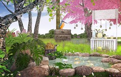 Contemplate nature drinking a lemonade (Rose Sternberg) Tags: second life deco decor home garden interior landscape flourish sales studio event tlc gold fish pond with waterfall set for three toed box turtle kingfisher sign junk food rustic lemonade stand