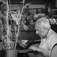Café Man (JamieDieu) Tags: nikond3300 greece nikon digital nikkor 18200mm lefkada café old man street blackandwhite