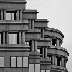 Abstract Structure (2n2907) Tags: abstract architecture stone lines building windows pillars curves horizontal vertical blackwhite architectural