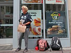 BostonHungry@MickeyDs (fotosqrrl) Tags: boston massachusetts streetphotography urban washingtonstreet mcdonalds womaninneed sign belongings backpack