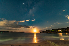 Milky Way and Moon from the Beach (Merrillie) Tags: night moonlight milkyway starry astrophotography australia moon nighttime newsouthwales lunar pearlbeach astrology starlight beach moonphases galacticcore moonrise centralcoast coastal northpearlbeach nightsky seascape nightscape starlit stars galaxy