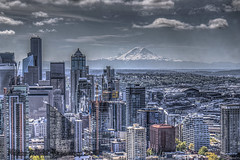Looking South in the City (Michael F. Nyiri) Tags: seattle skyline mtrainer urban cityscape city clouds buildings skyscrapers washingtonstate
