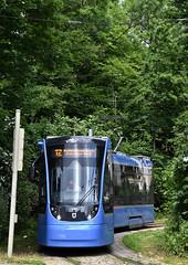 In der grünen Schleife warten die kurzen Zweiteiler ihre Wendezeit ab (Bild: Peter Schricker) (Frederik Buchleitner) Tags: 2705 avenio linie12 munich münchen neuhausen siemens strasenbahn streetcar twagen t2 tram trambahn