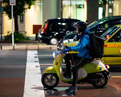Delivery Scooter (RW Sinclair) Tags: 2019 56mm asia fuji fujifilm fujinon ilc japan june kanto mirrorless summer tokyo xt1 xf56mm xf56mmf12r bokeh prime フジフィルム 日本 東京 kanda street streetphotography scooter delivery