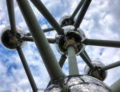 Atomium Spheres (kylewagaman) Tags: atomium brussels belgium europe structure architechture brussel bruxelles belgique belgien belgië sky clouds shiny metallic