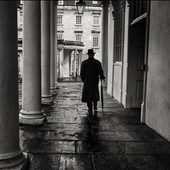 Umbrella Man (Daz Smith) Tags: dazsmith fujifilmxt3 xt3 fuji bath city streetphotography people candid portrait citylife thecity urban streets uk monochrome blancoynegro blackandwhite mono man umbrella silhouette