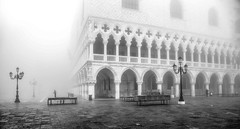 Doges Palace through the Fog (photofitzp) Tags: dogespalace fog italy stmarkssquare venice lamps architecture