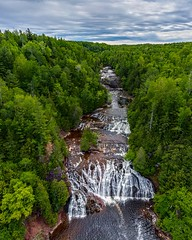 Potato River Falls (Daniel000000) Tags: explore new old art waterfall green wisconsin midwest iron county slow shutter drone vertical panorama dji mavic 2 pro trees forest woods country rural park water sky clouds landscape nature adventure travel flying fun outside blue morning summer summertime white tree sun light river