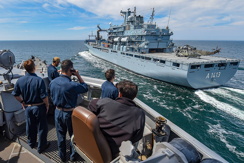 USS Gravely conducts a replenishment-at-sea with German navy replenishment ship.