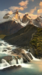 Elysium (timexzy123) Tags: chile jkboy landscape loscuernos mountain patagonia river saltogrande sunrise torresdelpaine waterfall