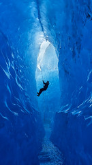 Climber Rappelling Into Cave (timexzy123) Tags: blue cave caving climber glacier ice mendenhall rappel rappelling rope water adventure alaska extreme juneau mendenhallglacier travel