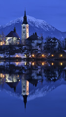 Bled Blue Hour (timexzy123) Tags: architecture bled bluehour city europe evening eveninglights island lake landscape mirroring mountain reflection slovenia snow temple view water
