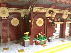 24_Train Station Building 2 details (jakob.escher) Tags: afol architektur art bahnhof building city design ideas idee moc stadt street station toys train town