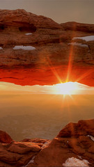 Mesa Arch Sunrise (timexzy123) Tags: arch canyonlands landscapes mesaarch red rock snow sun sunrise tonyshi utah morning xiaoying