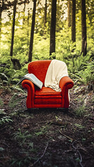 Take Me There (timexzy123) Tags: red woods book calm chair clearing forest furniture nature peaceful trees wilderness comfort armchair atlis blanket comfy concept livingroom map nurture outdoors wood