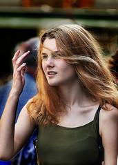 Portrait (D80_536512) (Itzick) Tags: denmark copenhagen candid color colorportrait redhead redhair youngwoman streetphotography face facialexpression longhair d800 itzick