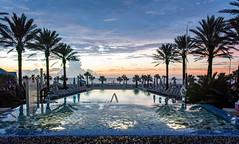 Sunrise at the Omni Amelia Island Plantation Pool (JavaJoba) Tags: ameliaisland fernandinabeach pool omniresort sunset water sky clouds poollights lights palmtrees hotelpool resortpool poolchairs