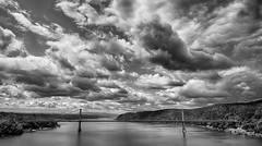 Drama Over the Hudson #2 (WilliamND4) Tags: hudson river bridge newyork ny water clouds blackandwhite nikon d750
