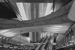 Kalvin ter metro station, Budapest (nick taz) Tags: station metro blackandwhite budapest kalvin ter hungary train