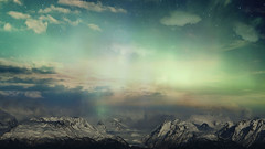 Mountains and light (timexzy123) Tags: auroraborealis blue clouds green landscape light mountains night northernlights sky surreal