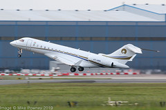 VT-HMA - 2008 build Bombardier BD700 Global Express XRS, evening departure on Runway 23R at Manchester, after watching India v Pakistan in the ICC Cricket World Cup (egcc) Tags: 9317 bd700 bizjet bombardier cftux egcc global globalexpress globalxrs lightroom man manchester reliancecommercialdealers ringway vthma