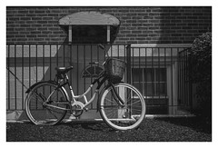 Schwinn it! (VanveenJF) Tags: bike fiets usa schwinn bicycle street bw house transportation massachusetts newton brookline ma travel stilllife sony zeiss 35mm