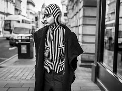 White Stripes (Leanne Boulton) Tags: urban street candid portrait portraiture streetphotography candidstreetphotography candidportrait streetportrait streetlife man male face expression emotion mood feeling stripes stripe stripy waistcoat hoodie cap style fashion trend tone texture detail depthoffield bokeh naturallight outdoor light shade city scene human life living humanity society culture lifestyle people canon canon5dmkiii 70mm ef2470mmf28liiusm black white blackwhite bw mono blackandwhite monochrome glasgow scotland uk