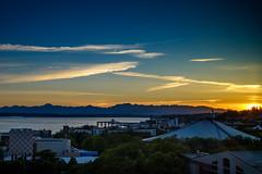 Seattle Sunset (briburt) Tags: briburt seattle sunset olympicmountains pugetsound blue golden azure yellow dusk summer mountains water peaceful fujifilm xt2 27mm prime primelens xf sun clouds