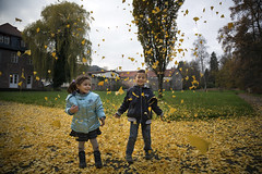 Germany. Humanitarian Assistance Programme (andyhewett72) Tags: autumn brother child copyspace day elementaryage femalehumangender leaf malehumangender outdoors sister syrianethnicity twopeople waechtersbach germany
