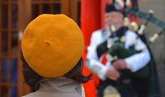 The Hat (Edinburgh Photography) Tags: outdoors people man woman bagpipes piper street documentary photojournalism grassmarket edinburgh nikon d7000 portrait