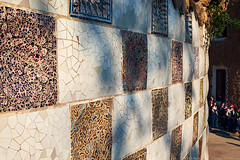 Trencadis technique decorative square ceramics on a wall in the Guell park (Midoritai) Tags: trencadis technique guell square ceramics wall park ceramic tile broken tiles gaudi barcelona art famous landmark mosaic pattern fragment catalonia spain modernism tourism travel masterpiece architect beautiful facing decoration detail spanish artistic antoni modernist abstract catalunya decorated ornamental trencadi unesco vintage colourful texture background architecture design europe summer heritage piece