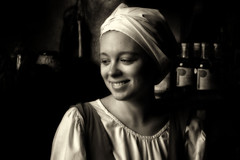 Portrait of an Estonian girl (ABWphoto!) Tags: europe tallinn estonia woman one person blackandwhiteportrait naturallight inside costume face happy smile