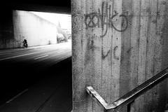 The cyclist (Ricoh GR1) (stefankamert) Tags: tunnel cyclist film analog analogue people street wall textures lines ricoh gr1 stefankamert blackandwhite blackwhite noiretblanc noir kodak trix